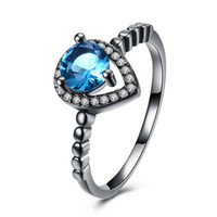 Wholesale Band Sunshine - Christmas Gift Ring Black Gun Plated Silver London Blue Topaz Amethyst Sunshine Nice Jewelry Size 6 7 8 9