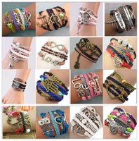 Wholesale East Indian - Hot sale Infinity Bracelets Charm Bracelet 16 styles fashion Leather Bracelets DIY Antique Cross Bracelets MultilayerHand Decorative