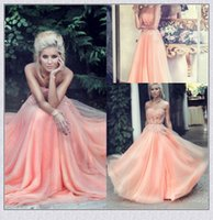 Wholesale Hollow Triangle - 2017 Hot Sales Peach Prom Dresses Beaded Lace Appliques Polyester Boning A-Line Floor-length Chiffon Evening Gown Formal Dress Party Gowns