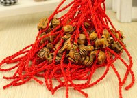 Wholesale Wooden Fashion Jewelry Bracelets - 100pcs Hot Wholesale Fashion Jewelry Faux Wooden Pendants Charm Braided Lucky Red String Woman Good Luck Bracelets&Bangle C683
