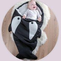 Wholesale Baby Blanket Small - Wholesale Cute Cartoon Shark Baby Sleeping Bag Winter Baby Sleep Sack Warm Baby Blanket Warm Swaddle