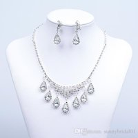 Wholesale 925 Sterling Earrings Stones - Big Discount New necklace and earring set Silver plated Rhinestones Diamond Designer Evening Bangles Bridal Accessory Jewelry 15003A
