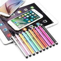 iphone 4s kalem kalemi toptan satış-Toptan 500 adet / grup Kapasitif ekran Metal stylus dokunmatik kalem klibi ile iphone3G 3GS 4 4 S iphone 5 / iPad / mini iPad / iPod touch