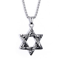Wholesale Stainless Steel Hexagon - Unique Design High Quality Casting Biker 316L Stainless Steel tar of David Hexagon Pendant Necklace 20'' Box Chain Men Gift