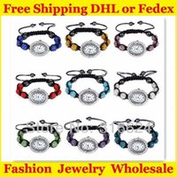 Wholesale Polymer Clay Watches Wholesale - Large Wholesale Shamballa Bracelet Watch Jewelry 6pcs Polymer Clay Disco Beads 50pcs lot Free Shipping via DHL or Fedex