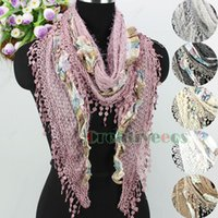 Wholesale 3d Lace Trimming - Wholesale-Fashion Elegant Stylish Hollow Out Geometric Shaggy Plaids 3D Flowers With Lace Trim Tassel Triangle Scarf Shawl Wrap 2 Style