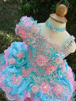 Wholesale toddlers pageants dresses - Lovely Girl's Glitz Pageant Dresses 2016 Ball Gown Lace Flower Girl Dresses Hand Made Flowers Beads Crystals Tiers Toddler Pageant Dresses