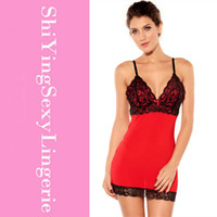 Wholesale Chemise Red Christmas - Stretch Red Chemise Lace-up Back erotic baby dolls women sleepwear mini dresses