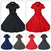 Wholesale Audrey Hepburn Vintage Style Casual Dresses Modern Ruffles Women European Short Sleeve with Bow Ribbon Lapel Neck Skirts OXL127
