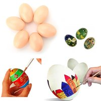 Wholesale Hen Nesting - Wholesale- 6pcs Wood Chicken Egg Hen Easter Egg Decoration Dummy Nesting Fake Eggs