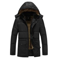Wholesale Jacket Goose Feather - Wholesale-2017 Winter Mens White Duck Down Jacket 4XL 5XL Plus Size Warm Fleece Coat Ultra Light Goose Feather Down Jacket Hooded Parka