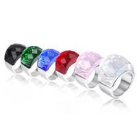 glassteine für ringe groihandel-Große kristall stein ringe für frauen edelstahl glas anel schmuck mehrfarbige hochzeit ringe rot blau grün weiß