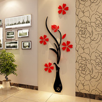 Wholesale 3d Flower Wall Decals - Wall Stickers Acrylic 3D Plum Flower Vase Stickers Vinyl Art DIY Home Decor Wall Decal Red Floral Wall Sticker Colors