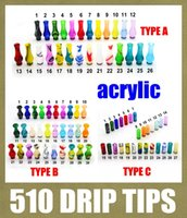 Wholesale Ecig Drip - curved 510 drip tips Driptips Wide Bore acrylic flat mouthpiece gourd shaped colorful ecig accessories fit mini haze rda free ship FJ174