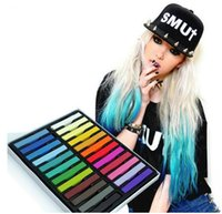 Wholesale Easy Soft Pastel - 24 Colours Hair Dye Easy Temporary Colors Non-toxic Hair Chalk Soft Pastels Kit Hair Color Crayons for Hair M01050c