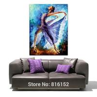 pintura al óleo bailarina al por mayor-Vestido púrpura Chica Mariposa Danza Figura Abstracta Paleta Cuchillo Pintura Al Óleo Impresiones de Lona Mural Art Home Living Room Decoración de Pared
