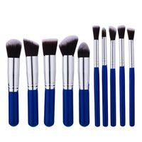Wholesale Makeup Brushes Blue Handle - Newest high quality makeup the blue handle 10pcs makeup brushes make up brush tools free shipping