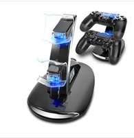 Wholesale Gaming Consoles - Dual Controllers Charger Charging Dock Stand Station For Sony PlayStation 4 PS4 PS 4 X-box one ones Game Gaming Wireless Controller Console