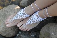tığ işi sandalet kadın toptan satış-Sıcak Satış Plaj düğün Ayak süsler Beyaz Çiçek El Yapımı saf Pamuk Çiçek Tığ Barefoot Sandalet kadın ayak Takı Ayak Bileği CC006