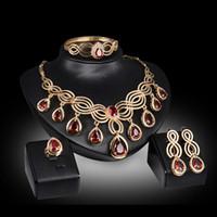 Wholesale Gem East Earrings - Trendy 18K Gold Plated Wedding Gem Zircon Beads Necklaces Bracelet Ring Earrings Women Party Jewelry Sets 3Colors