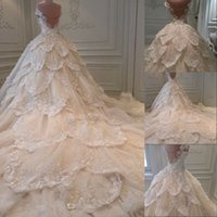 online shopping Ball Gowns - Luxury 2016 Bling Michael Cinco Wedding Dresses Ball Gown Tiered Crystal Sequins Backless Cheap Long Chapel Train Plus Size Bridal Gowns