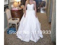 Wholesale Elegant Wedding Dresses Sashes - 2014 New Arrival Elie Saab Vintage Elegant Beaded With Crystals Sash Train Taffeta Wedding Dress Ball Gown Custom Made Plus Size