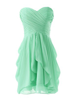 Wholesale Simple Short Bridesmaid Dresses Sweetheart - Simple Strapless Sweetheart Short Bridesmaid Dresses 2017 Pleat A Line Ruffles Chiffon Homecoming Dance Prom Party Gowns