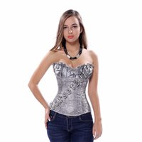 Wholesale Body Corsage - Wholesale-Women Plus Size Waist Training Corset Sexy Overbust Corsets Top Body Shaper Black Beige Embroidery Gothic Corselet Corsage