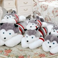 Wholesale Mouse Boys - Husky Stuffed Animals Plush Toys Boys Girls Birthday Party Gifts Cute Dogs Striped Sweater Toy Huskie Plus Stuff Toy 40 50 70 100cm D4283