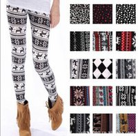 Wholesale Cashmere Leggings Women - Women Printed Leggings Colorful Snowflake Christmas Deer Graffiti Legging Cashmere Knitted Slim Leggings Tights
