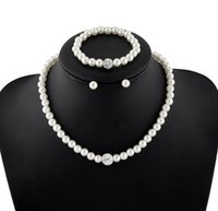 Wholesale freshwater pearl necklace resale online - Fashion Wedding Imitation White Natural Freshwater pearl Jewelry Sets Rhinestone Ball Necklace Earrings Bracelet Jewelry Sets for women DB