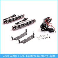 Wholesale Daytime Fog - 2 pcs White 5 LED Daytime Running Light DRL Car Fog DRL Lamp Clear Lens C385