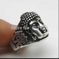 Wholesale Carved Buddha Jewelry - Wholesale-2015 New Tibetan silver vintage retro fashion excellent stereo Tibet silver carved Buddha head portrait lucky ring jewelry