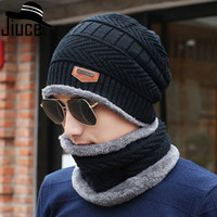 2017 Top Quality Inverno Plus Cappellino in velluto Cappello da uomo Sciarpa in due pezzi in pelle Cappello lavorato a maglia Cappello Casco Freccia
