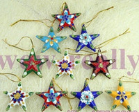 Wholesale Wholesale Christmas Star Ornaments - Wholesale-Free shipping! 10 PCS A CHRISTMAS ORNAMENT LOVELY CLOISONNE STARS CHRISTMAS Gift A++++