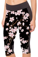 Spandex blossoms trouser - HOT Women Black Milk Peach Blossom Printed Pants Summer Sport Stretch Cropped Trousers Pocket Mid Calf Leggings S XL LC1026