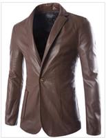 Wholesale Coat Handsome - Men's New Suit Sheep Leather Jacket Men Leather New Fashion Men Slim Suit leather clothing genuine leather Handsome coat 1299-py75