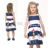 Wholesale Belted Striped Dress - 2015 summer girls print dress striped dress with belt sleeveless princess dress circle children girls summer sleeveless striped dress
