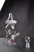 ingrosso baby bong-Nuovo arrivo biberon mini bong in vetro In stock tubo di vetro con cupola e chiodo da 14 mm