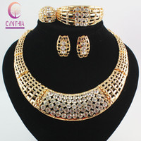 Wholesale Chunky Costume Jewelry - Fashion African Costume Jewelry Sets 18k Gold Plated Crystal Chunky Necklace Bangle Earrings Ring Women Bridal Party Gift Set