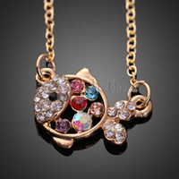 order goldfish - Korean Style Colorful Rhinestone Hollow out Goldfish Necklace Sweater Chain NVIE order lt no track