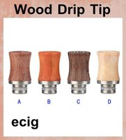 Wholesale ecig mouthpiece stainless resale online - wood mouthpiece for ecig Drip tips stainless steel Metal Ego Drip Tip Mouthpiece for rda rba atomizer FJ147