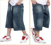 Wholesale Boys Baggy Jeans - Wholesale-Men's Baggy jeans calf-length short hip hop trousers blue casual loose pants fat big size boy skateboard dance hiphop jeans