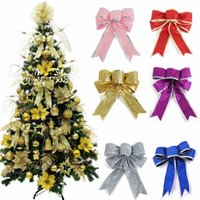 Wholesale Ornament Candles - Wholesale-2016 Merry Christmas Theme Bow Shape Flannel Christmas Tree Decoration Xmas Tree Hanging Ornaments Festival Decorations