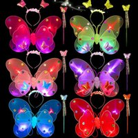 Wholesale children s fancy clothing online - 3pcs set Fairy Butterfly Wings Girls Halloween Fancy Dress Party Clothes Christmas Kids Butterfly Wings Children s Performance props