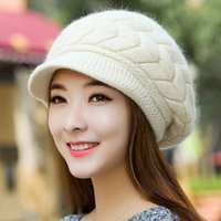 Wholesale Duck Ear Cap - Wholesale-2015 new fashion autumn and winter warm female hats Knit Wool Hat Cap duck tongue rabbit ear double warm winter tide hats H2