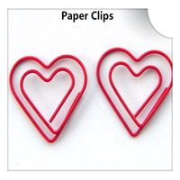 Wholesale Cute Shaped Paper Clips - 200Pcs Double Heart Love Shape Paper Clips Cute Bookmark Memo Clip Stationery for Office School Home Use Xmas Best Gift