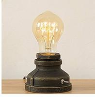 ingrosso lampade da tavolo in metallo d'epoca-Loft E27 Lampade da scrivania vintage industriali in metallo Edison Comodino Steampunk Base in ferro battuto Lampade da tavolo antiche Lampade da notte per comodino