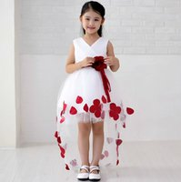 Ball Gown Wedding Dress for sale - Good Quality Elegant Ball Gown Asymmetrical V-Neck Hi-lo Flower Girl Dress With Red Sash
