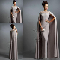Wholesale Elie Saab Blue Chiffon Dress - Sexy Formal Evening Dresses 2016 Elie Saab Gray With Cape Ruffles Lace Edged Cheap Long Sheer Prom Party Gowns Evening Wear Dress